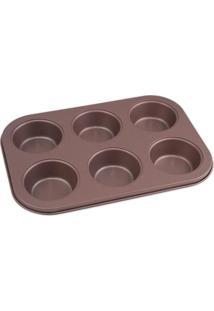 Forma Para Cupcake Le Em Aço Com 6 Divisórias Rosé