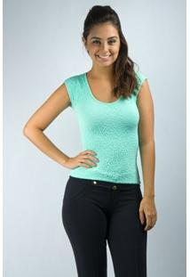 Blusa Decote Ondo Com Manga - Salto Triplo - Feminino-Verde Claro