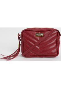 Bolsa Em Couro Matelass㪠Com Tag- Vermelho Escuro- 1Di Marlys