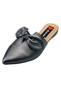 Sapatilha Bico Fino Love Shoes Mule Basic Laço Detalhes Metalizados Grafite