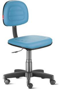 Cadeira Secretária Costura Giratória Courvin Azul Céu