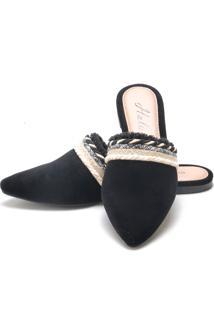 Sapatilha Mulle Bico Fino Sb Shoes Ref.10320 Preto/Bege