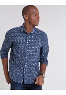 Camisa Masculina Comfort Estampada Floral Manga Longa Azul Marinho