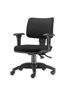 Cadeira Zip Assento Crepe Preto Base Rodizio Em Nylon Arcada - 54454 Preto