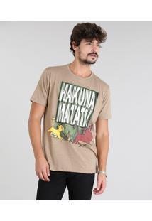 """Camiseta Masculina O Rei Leão """"Hakuna Matata"""" Manga Curta Gola Careca Kaki"""