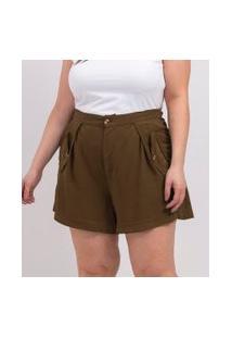 Short Liso Em Viscose Com Bolsos De Lapela Curve & Plus Size | Ashua Curve E Plus Size | Verde | G