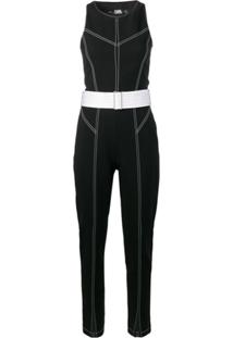 Karl Lagerfeld Suéter Com Costura Contrastante - Preto