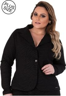 Blazer Plus Size - Confidencial Extra Preto Casual De Sarja Com Elastano