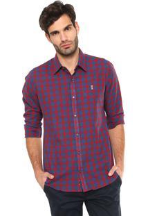 Camisa Linho Sergio K Reta Xadrez Vermelha