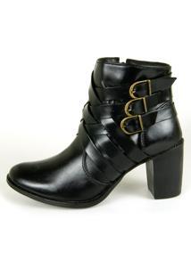 Bota Cano Curto Over Boots Riana Couro Preto