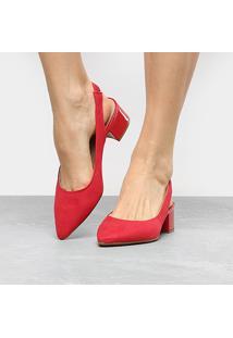 Scarpin Beira Rio Salto Baixo Chanel - Feminino-Vermelho