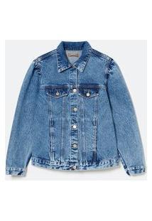 Jaqueta Jeans Com Manga Bufante Curve & Plus Size | Ashua Curve E Plus Size | Azul | G