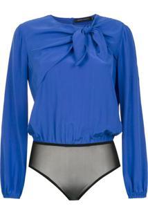 Andrea Marques Body De Seda Com Laço - Azul