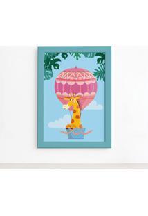 Quadro Infantil Girafa E Balão Moldura Azul 22X32Cm