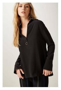 Camisa Seda Polo Ilhos Preto