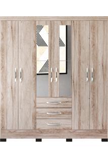 Guarda Roupa Casal Barcelona C/ Espelho Castanha Rústico Colibri Móveis - Tricae