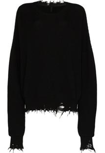 Unravel Project Suéter Oversized Destroyed - Preto
