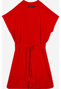 Colete Dudalina Tricot Liso Faixa Para Amarrar Feminino (Vermelho Medio / Medium Red, M)