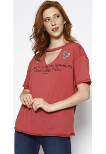Camiseta Com Cactos Bordados - Vermelha & Verde - Sosommer