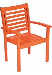 Cadeira Empilhável Com Braços Milano Laca Mestra Móveis Laranja