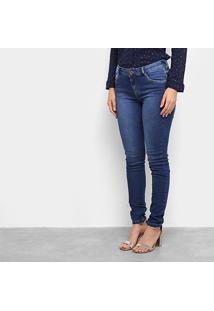 Calça Jeans Skinny Morena Rosa Cintura Média Feminina - Feminino-Azul