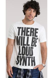 """Camiseta """"There Will Be Loud Synth"""" Bege Claro"""
