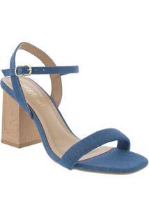 Sandália Gabriela Salto Grosso Fivela Jeans Azul A