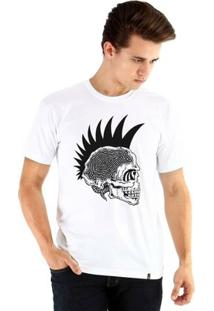 Camiseta Ouroboros Manga Curta Caveira Punk Masculina - Masculino-Branco