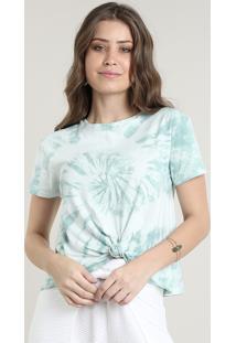 Blusa Feminina Básica Estampada Tie Dye Com Nó Manga Curta Decote Redondo Verde Claro