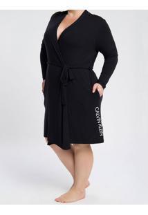 Pijama Feminino Robe Manga Longa Preto Plus Size Calvin Klein - 1Xl