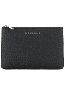 Orciani Top Zip Wallet - Preto