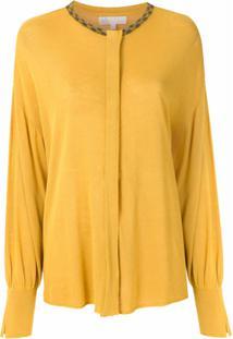 Nk Blusa De Tricô Com Bordado - Amarelo