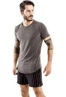 Camiseta Longline Brohood Curve Snake Masculina - Masculino-Cinza