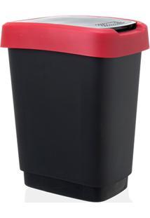 Lixeira Em Plástico Rotho 10 Litros Preta E Vermelha