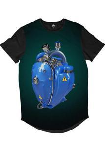 Camiseta Longline Bsc Coração De Máquina Motor Sublimada Masculina - Masculino-Azul