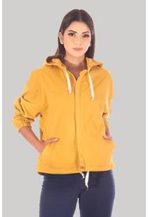 Jaqueta Sisal Jeans Bomber Feminina - Feminino-Amarelo