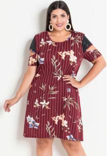 Vestido Floral Listrado Com Mangas Vazadas