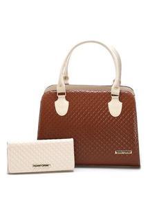 Bolsa Feminina Bicolor Mais Carteira Metalassê, Com Alça Transversal Santorini Handbag Creme/Marrom