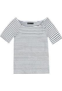 Blusa Básica Hering Em Malha De Algodão Com Decote Canoa Feminina - Feminino-Branco