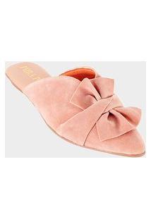Mule Sapatilha Feminina - Camurção Rosado - Laço Leque Nude
