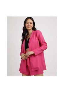 Blazer Feminino Alfaiataria Alongado Pink