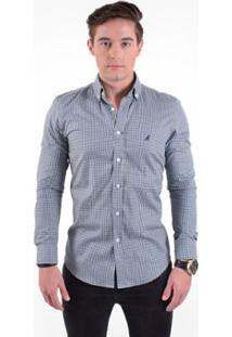 Camisa Social Slim Xadrez Masculina - Masculino-Azul