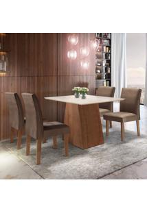 Conjunto Sala De Jantar Mesa Tampo Mdf Arezo 4 Cadeiras Espanha Siena Móveis Chocolate