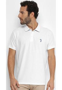 Camisa Polo Aleatory Lisa Gola Jacquard Masculina - Masculino-Branco