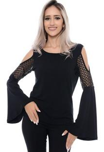... Blusa Manga Flare Ombros Vazados Talita B Bonnie - Feminino-Preto 5a5f36846c141