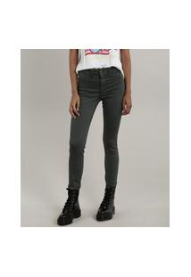 Calça De Sarja Feminina Skinny Energy Jeans Verde Militar