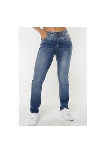 Calça Jeans Reta Slim Fit Com Bolsos Verdadeiros Sob Jeans Azul