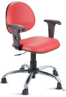 Cadeira Escritório Vermelho Cromada Com Braços
