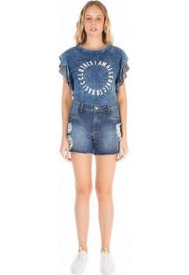 Body Zinco Decote Redondo Detalhe Tricot Jeans Jeans