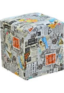 Puff Quadrado Decorativo Jornal Impermealizado - Lyam Decor